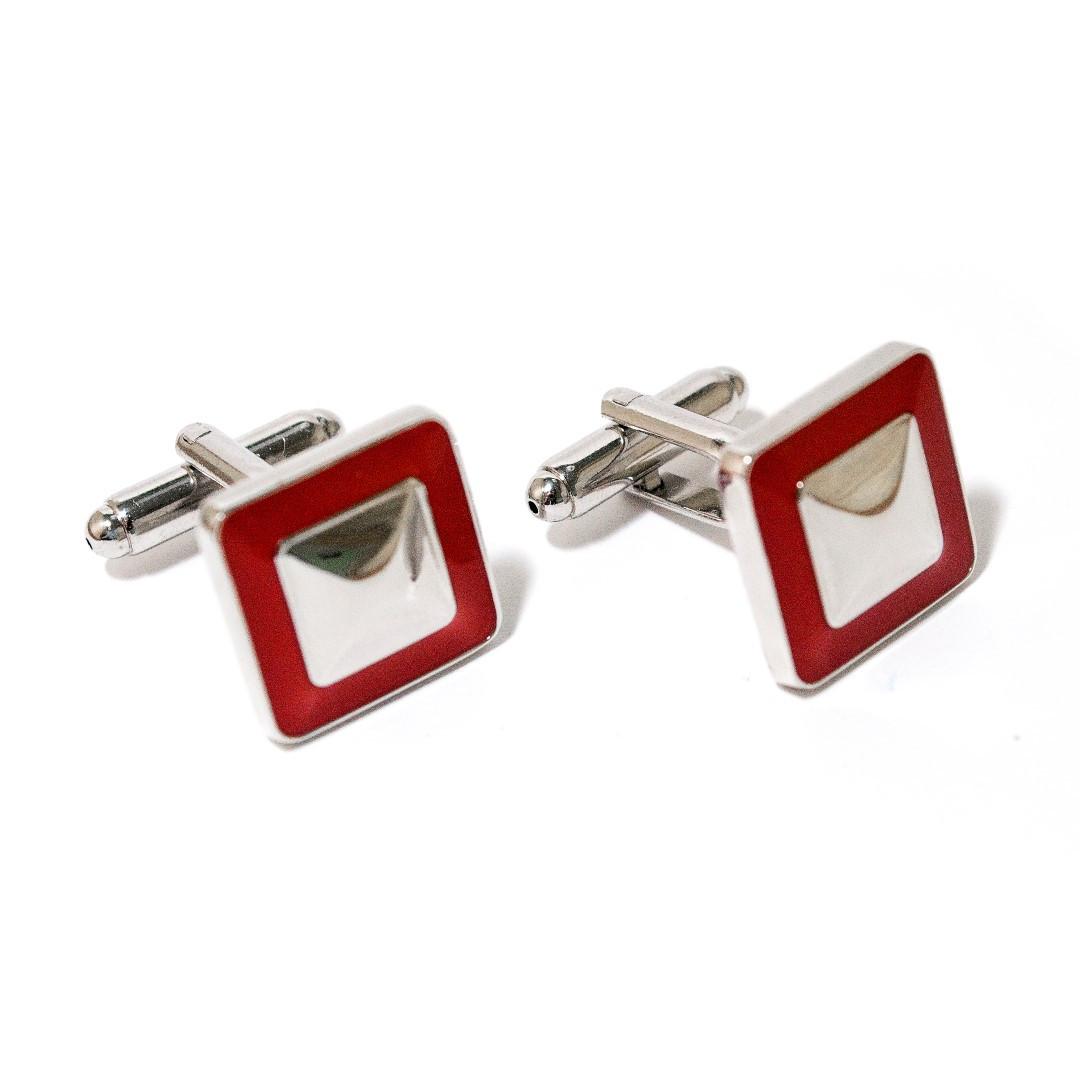 Запонки квадратні з червоною обводкою ZPH-1220