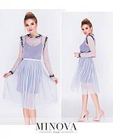 Женское Воздушное и нежное двухслойное платье состоит из трикотажной комбинации и фатинового платья с