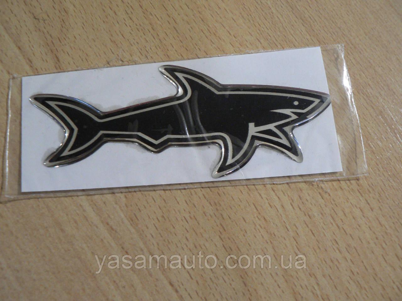 Наклейка s силиконовая Акула добрая 100х39х1,1 черная №2 нос вправо в на авто