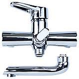 Смеситель HK Ø35 для ванны гусак прямой 150мм дивертор встроенный картриджный AQUATICA (HK-2C130C), фото 4