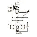 Смеситель HT Ø35 для ванны гусак прямой 100мм дивертор встроенный картриджный SS AQUATICA (HT-2C171P), фото 2