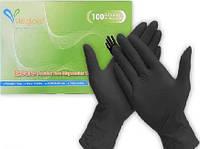 Перчатки нитриловые 100 шт, размер M чёрные