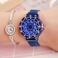 Женские наручные часы Cherry Blossom Rotating Watch Blue с магнитным ремешком