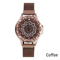 Женские наручные часы Cherry Blossom Rotating Watch Coffee с магнитным ремешком