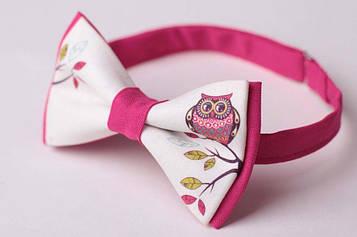 Краватка метелик Біло-Рожева з совою AB-164