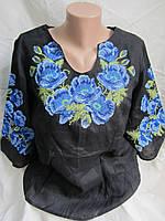 """Женская вышиванка из льна """"Маковка2"""", 48 размер, 650\550 (цена за 1 шт. + 100 гр.)"""