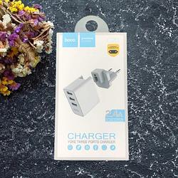 Мережевий зарядний пристрій HOCO C20 YOKE 3 USB White (C20 YOKE 3)