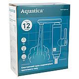 Кран-водонагрівач проточний LZ 3.0 кВт 0,4-5бар для раковини гусак довгий вигнутий на гайці AQUATICA, фото 2