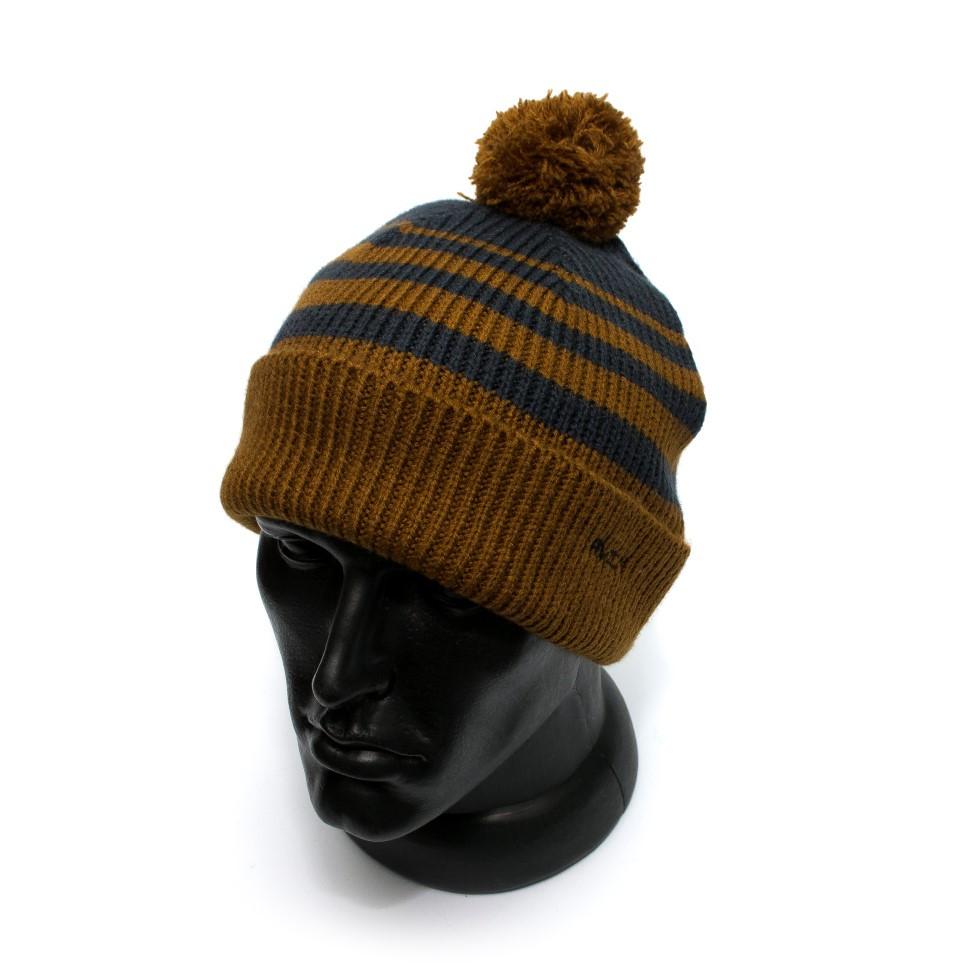 Мужская шапка RVCA коричнева в синю смужку L5BNRDRVW2