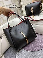 Модная красивая женская сумка шоппер + маленькая сумочка клатч на длинном ремешке через плечо комплект