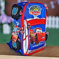 Детский каркасный 3D рюкзак Car Тачки Маквин для садика синий F5 от 3-х лет (1940)