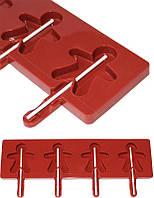 Кондитерская форма для приготовления кондитерки Hauser Человечек для леденцов на палочке, силиконовый планшет