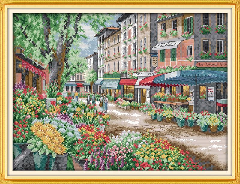 Париж.Цветочный рынок F664 Набор для вышивки крестом с печатью на ткани 14ст