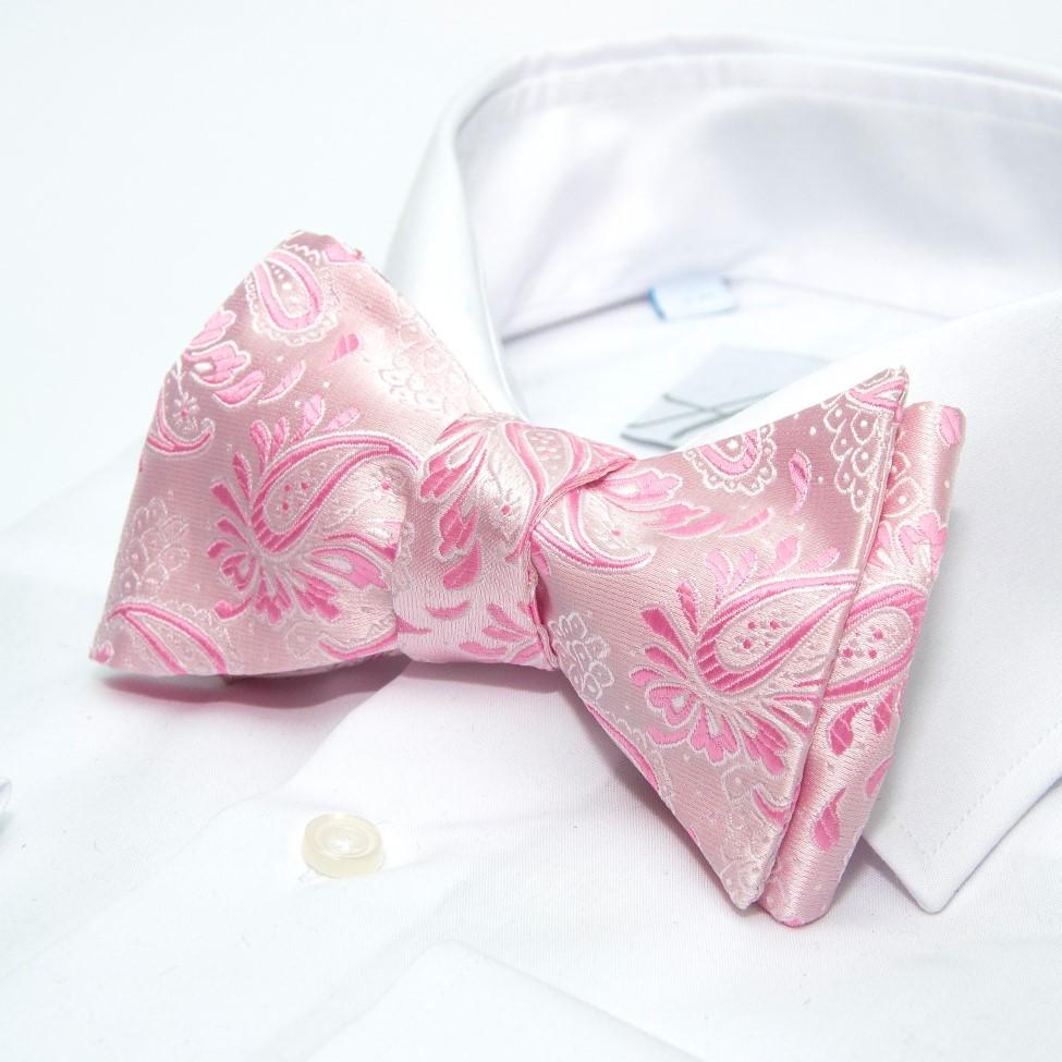 Краватка метелик самовяз рожевий з візерунком GBSV-4907
