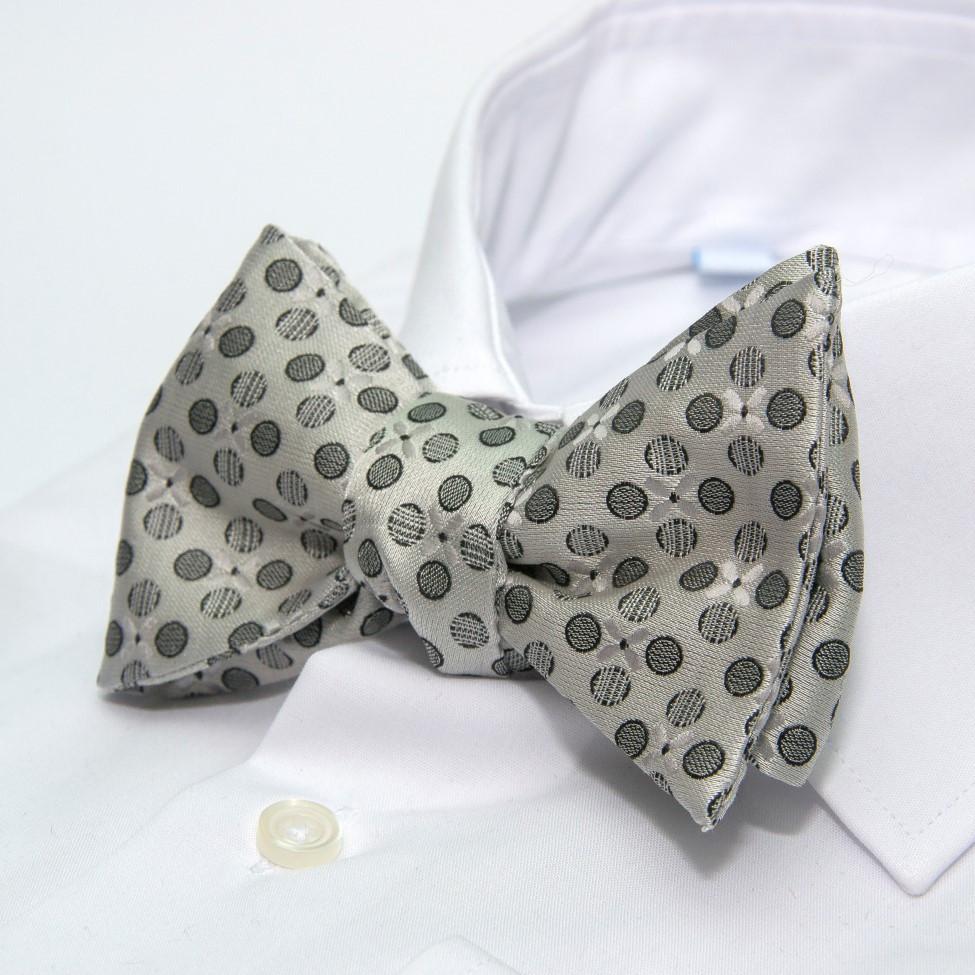 Сіра краватка метелик самовяз з кружечками GBSV-4911