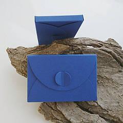 Подарунковий конверт-коробочка 60х90х8 мм з кольорового дизайнерського картону Синій