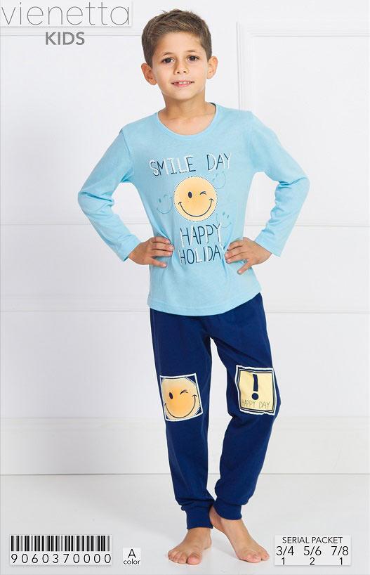 Трикотажная пижама со смайликом на мальчиков 3-8 лет