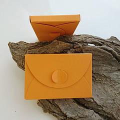 Подарунковий конверт-коробочка 60х90х8 мм з кольорового дизайнерського картону Жевтогарячий