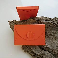 Подарунковий конверт-коробочка 60х90х8 мм з кольорового дизайнерського картону Помаранчевий