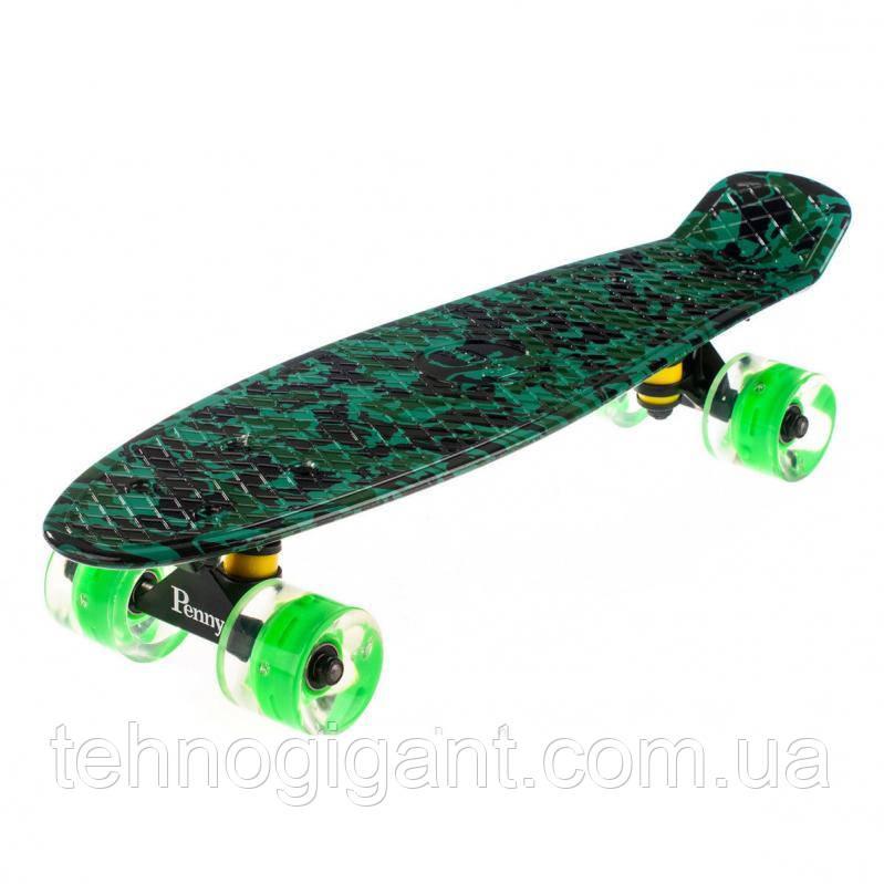 Скейт Penny Board, с широкими светящимися колесами Пенни борд, пенниборд детский , от 4 лет, Камуфляж