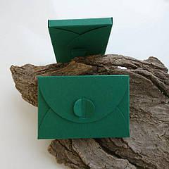 Подарунковий конверт-коробочка 60х90х8 мм з кольорового дизайнерського картону Зелений