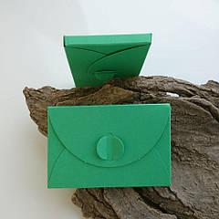Подарунковий конверт-коробочка 60х90х8 мм з кольорового дизайнерського картону М'ятний