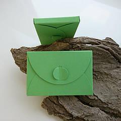 Подарунковий конверт-коробочка 60х90х8 мм з кольорового дизайнерського картону Салатовий