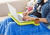Подставка пластиковая для ноутбука на ножках с подстаканником (зеленый), фото 1