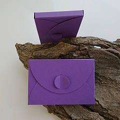 Подарунковий конверт-коробочка 60х90х8 мм з кольорового дизайнерського картону Фіолетовий