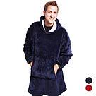 Плед толстовка двухсторонняя Huggle Hoodie халат с капюшоном и рукавами, фото 5