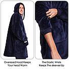 Плед толстовка двухсторонняя Huggle Hoodie халат с капюшоном и рукавами, фото 6
