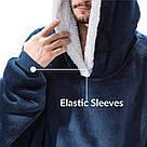 Плед толстовка двухсторонняя Huggle Hoodie халат с капюшоном и рукавами, фото 7