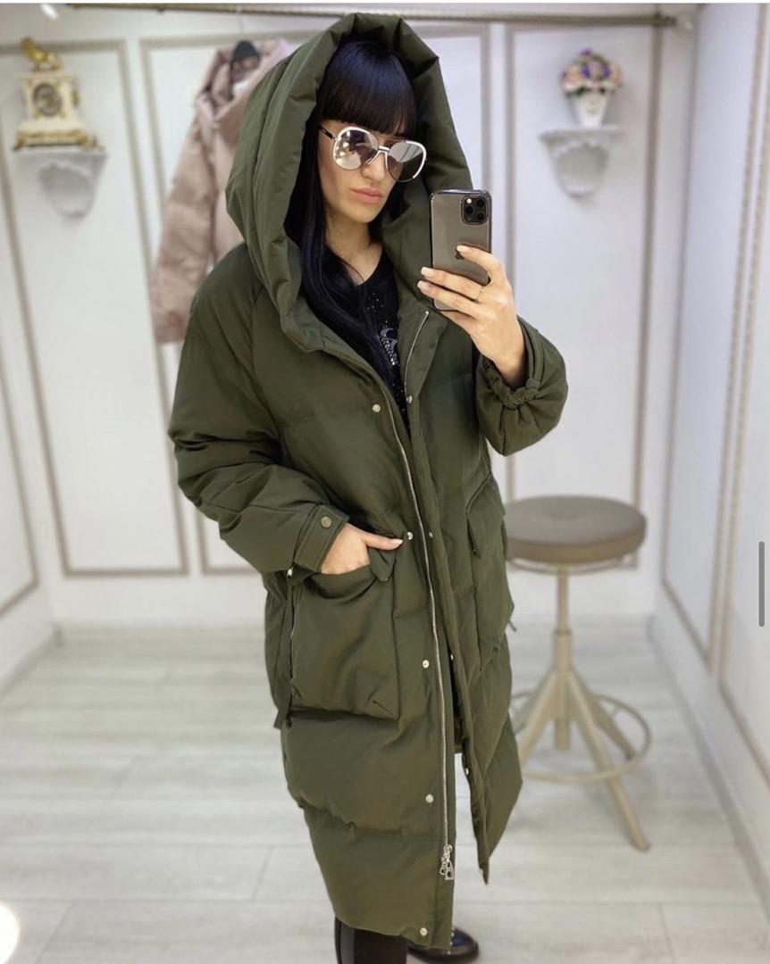Пальто удлиненное зимние  Цвета-хаки, пудра, чёрный