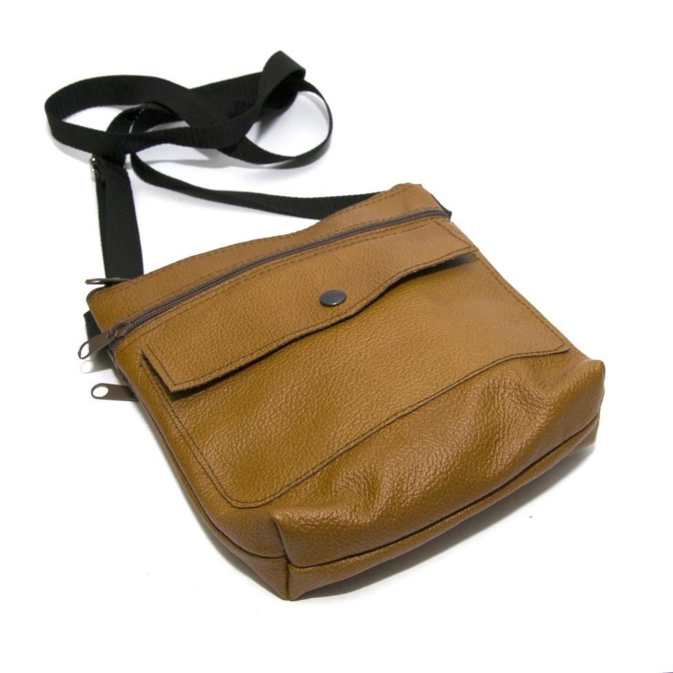 Світло коричнева шкіряна сумка на плече Gofin SMK-20001