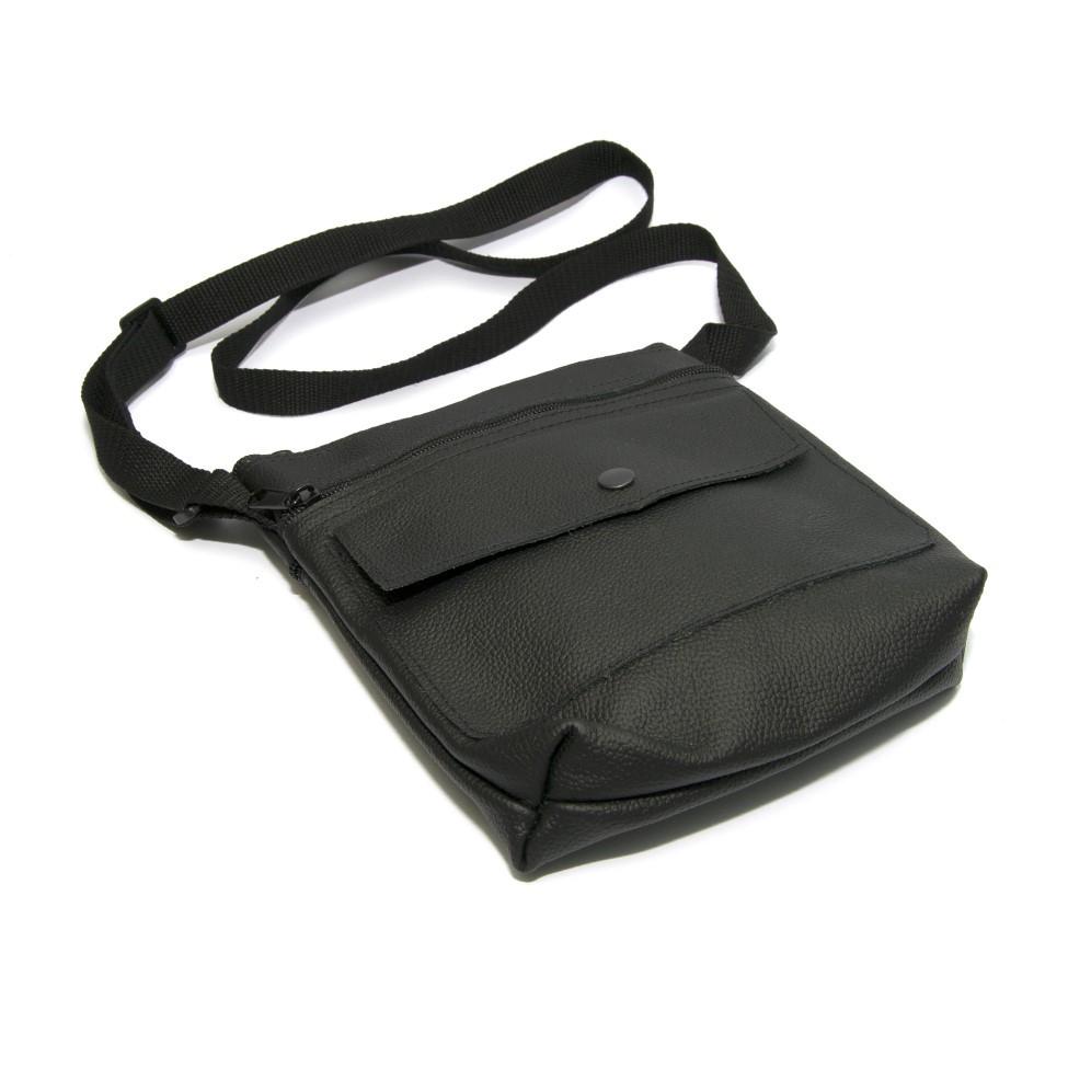 Чорна шкіряна сумка на плече Gofin SMK-20002