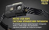 NITECORE NU25 Black 360LM Ультралегкий Налобный фонарь (Сree XP-G2 S3, 10 режимов, 3 спектра / USB), Черный, фото 9