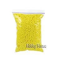 Шарики пенопластовые 4-6 мм,1000 мл, Лимонные для слаймов и декора.