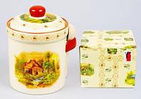 Банка емкость для хранения сыпучих продуктов продуктов с деревянной Ложкой 625мл