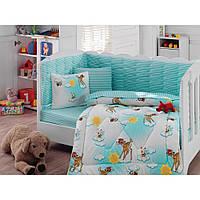 """Набор постельного белья в кроватку с бортиком и одеялом Cotton Box """"Bambiş"""""""