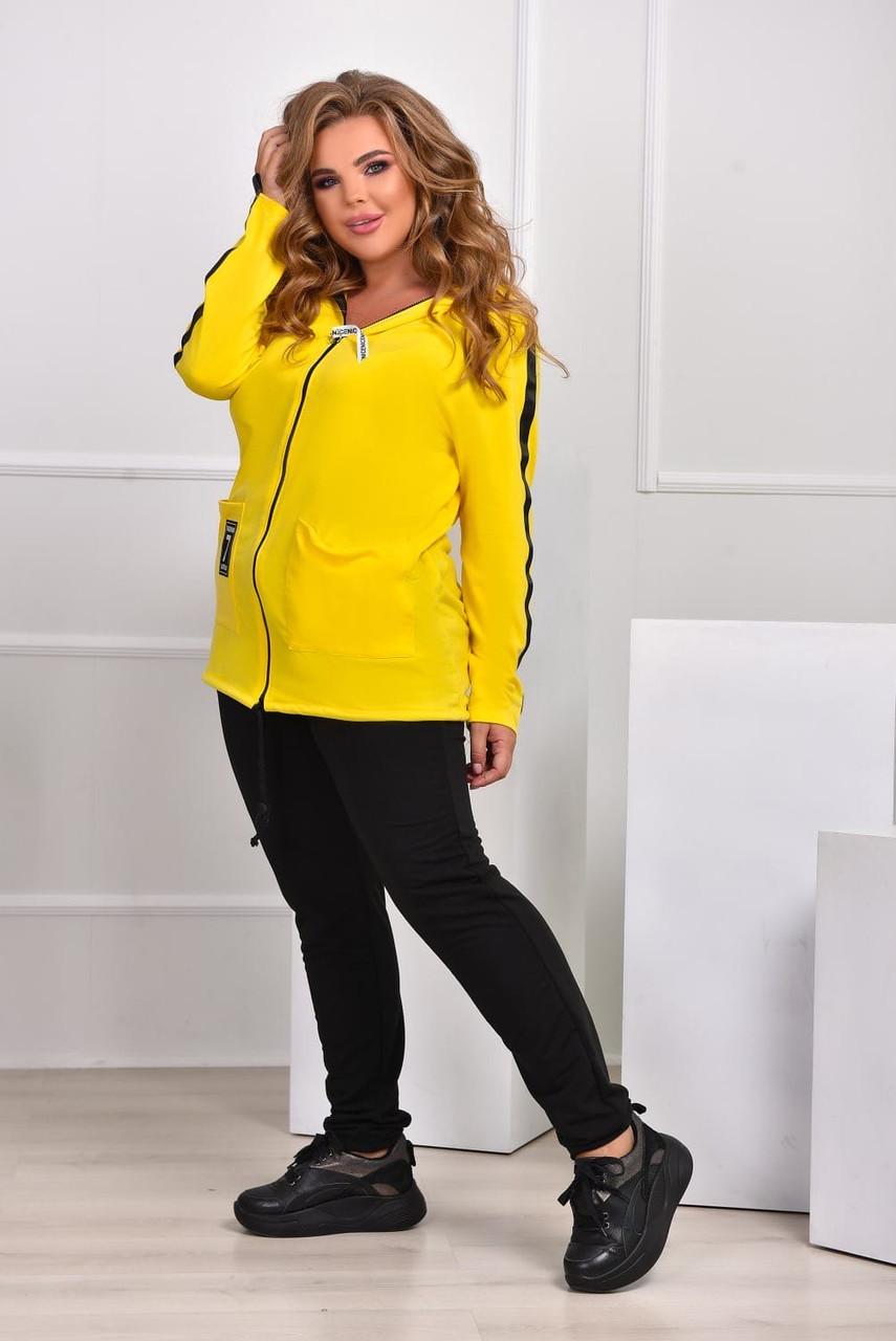 Спорткостюм - куртка пряма з трикотажу кукурудзи на блискавці з капюшоном і обробкою плюс приталені штани з двуніткі X8174