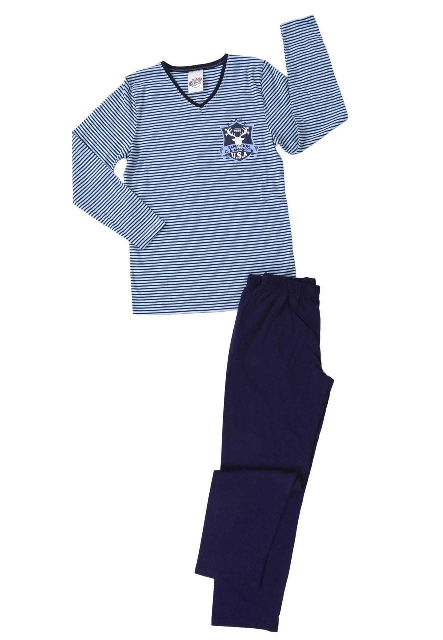 Трикотажная пижама в полоску мальчикам 9-16 лет