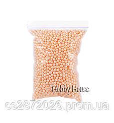 Шарики пенопластовые 4-6 мм,1000 мл, Персиковые для слаймов и декора.