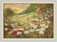 Ромашковое поле Набор для вышивки крестом с печатью на ткани 14ст