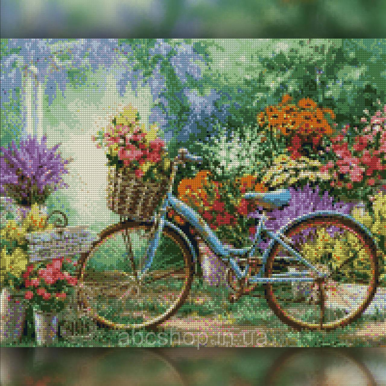 Алмазная вышивка Велосипед у цветочного сада 30x40 The Wortex Diamonds (TWD10042)