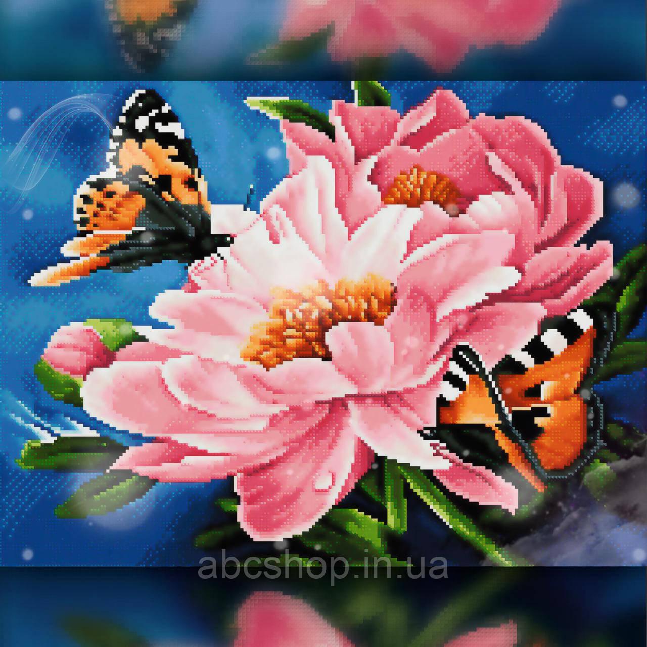 Алмазная вышивка Бабочки на нежных цветках 30x40 The Wortex Diamonds (TWD10064)