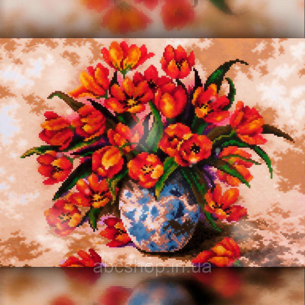 Алмазная вышивка Красные тюльпаны в вазе 30x40 The Wortex Diamonds (TWD10071)