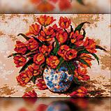 Алмазная вышивка Красные тюльпаны в вазе 30x40 The Wortex Diamonds (TWD10071), фото 2