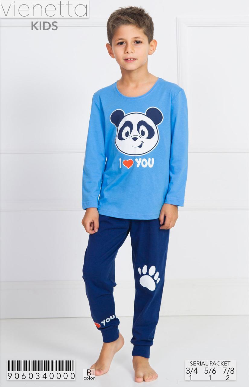Трикотажна піжама з принтом панди хлопчикам 3-8 років