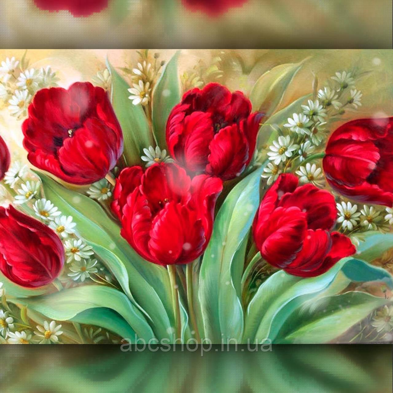 Алмазная вышивка Яркие тюльпаны 40x50 The Wortex Diamonds (TWD10061L)