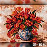 Алмазная вышивка Красные тюльпаны в вазе 40x50 The Wortex Diamonds (TWD10071L), фото 2